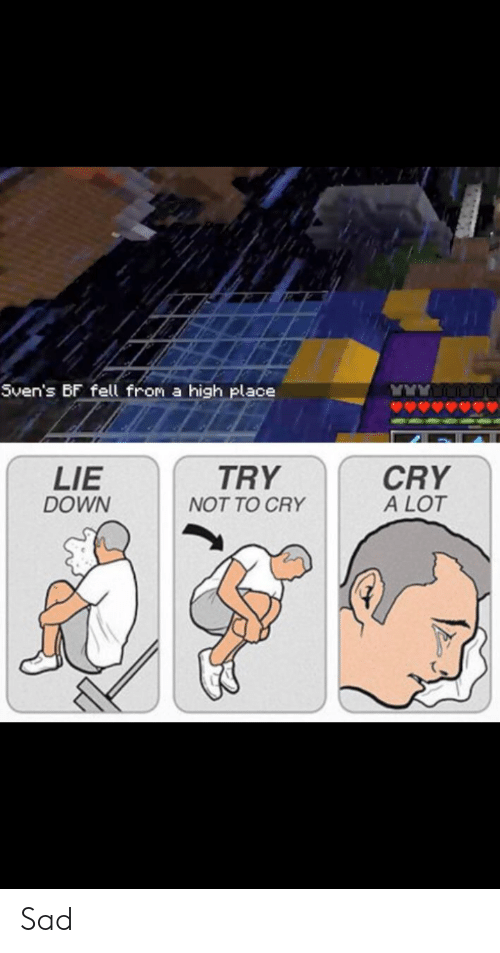 Sad, Down, and Cry: Sven's BF fell from a high place  LIE  DOWN  TRY  CRY  A LOT  NOT TO CRY Sad