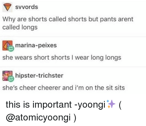 Hipster, Memes, and Cheerfulness: svvords  Why are shorts called shorts but pants arent  called longs  marina-peixes  she wears short shorts I wear long longs  hipster-trichster  she's cheer cheerer and i'm on the sit sits this is important -yoongi✨ ( @atomicyoongi )