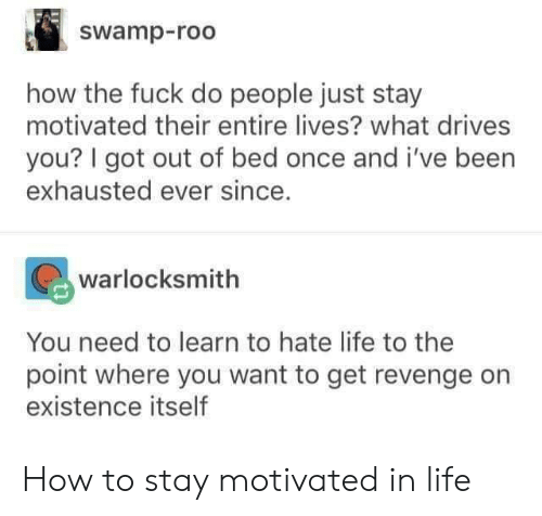 Life, Revenge, and Fuck: swamp-roo  how the fuck do people just stay  motivated their entire lives? what drives  you? I got out of bed once and i've been  exhausted ever since.  warlocksmith  You need to learn to hate life to the  point where you want to get revenge orn  existence itself How to stay motivated in life
