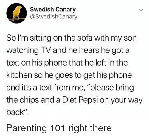 "Funny, Phone, and Pepsi: Swedish Canary  @SwedishCanary  So I'm sitting on the sofa with my son  watching TV and he hears he got a  text on his phone that he left in the  kitchen so he goes to get his phone  and it's a text from me, ""please bring  the chips and a Diet Pepsi on your way  back"" Parenting 101 right there"