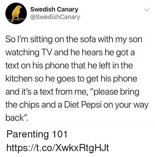 """Funny, Phone, and Pepsi: Swedish Canary  @SwedishCanary  So I'm sitting on the sofa with my son  watching IV and he hears he got a  text on his phone that he left in the  kitchen so he goes to get his phone  and it's a text from me, """"please bring  the chips and a Diet Pepsi on your way  back"""" Parenting 101 https://t.co/XwkxRtgHJt"""