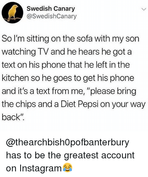 """Instagram, Memes, and Phone: Swedish Canary  @SwedishCanary  So I'm sitting on the sofa with my son  watching TV and he hears he got a  text on his phone that he left in the  kitchen so he goes to get his phone  and it's a text from me, """"please bring  the chips and a Diet Pepsi on your way  back"""" @thearchbish0pofbanterbury has to be the greatest account on Instagram😂"""