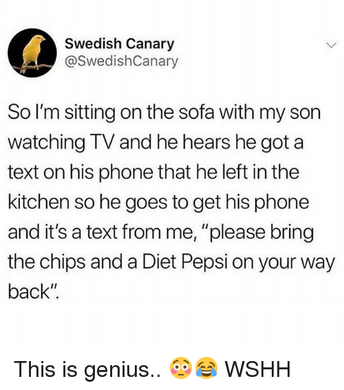 """Memes, Phone, and Wshh: Swedish Canary  @SwedishCanary  So I'm sitting on the sofa with my son  watching TV and he hears he got a  text on his phone that he left in the  kitchen so he goes to get his phone  and it's a text from me, """"please bring  the chips and a Diet Pepsi on your way  back"""" This is genius.. 😳😂 WSHH"""