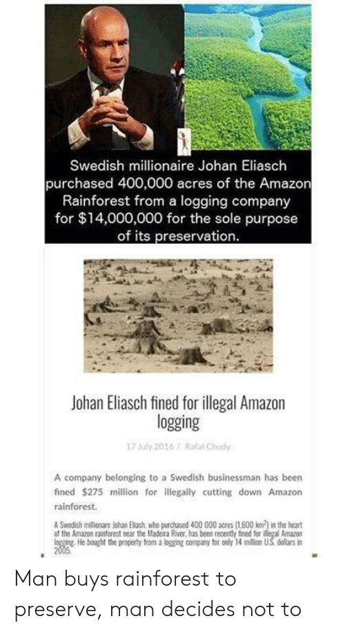 Amazon, Heart, and Swedish: Swedish millionaire Johan Eliasch  purchased 400,000 acres of the Amazon  Rainforest from a logging company  for $14,000,000 for the sole purpose  of its preservation  Johan Eliasch fined for illegal Amazon  logging  17 July 2016/ Rafal Chudy  A company belonging to a Swedish businessman has been  fined $275 million for illegally cutting down Amazon  rainforest.  A Swedish millionare Johan Elash, who purchased 400 000 acres (1600 km) in the heart  of the Amazon rainforest near the Madeira River, has been recently fined tor ilegal Amazon  logging He bought the property from a logging company for only 14 million US dellars in  2005 Man buys rainforest to preserve, man decides not to