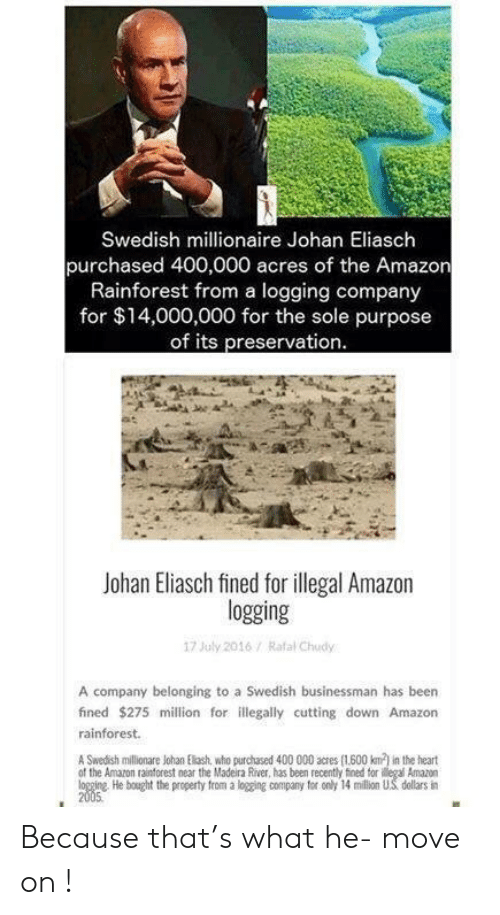 Amazon, Reddit, and Heart: Swedish millionaire Johan Eliasch  purchased 400,000 acres of the Amazon  Rainforest from a logging company  for $14,000,000 for the sole purpose  of its preservation  Johan Eliasch fined for illegal Amazon  logging  17 July 2016/ Rafal Chudy  A company belonging to a Swedish businessman has been  fined $275 million for illegally cutting down Amazon  rainforest.  A Swedish millionare Johan Elash, who purchased 400 000 acres (1600 km) in the heart  of the Amazon rainforest near the Madeira River, has been recently fined tor ilegal Amazon  logging He bought the property from a logging company for only 14 million US dellars in  2005 Because that's what he- move on !