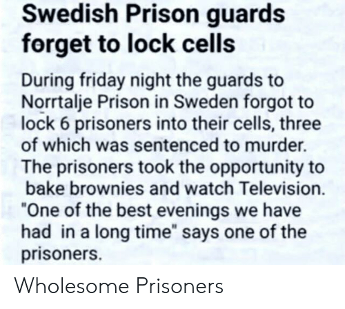 "Friday, Prison, and Best: Swedish Prison guards  forget to lock cells  During friday night the guards to  Norrtalje Prison in Sweden forgot to  lock 6 prisoners into their cells, three  of which was sentenced to murder.  The prisoners took the opportunity to  bake brownies and watch Television.  ""One of the best evenings we have  had in a long time"" says one of the  prisoners. Wholesome Prisoners"