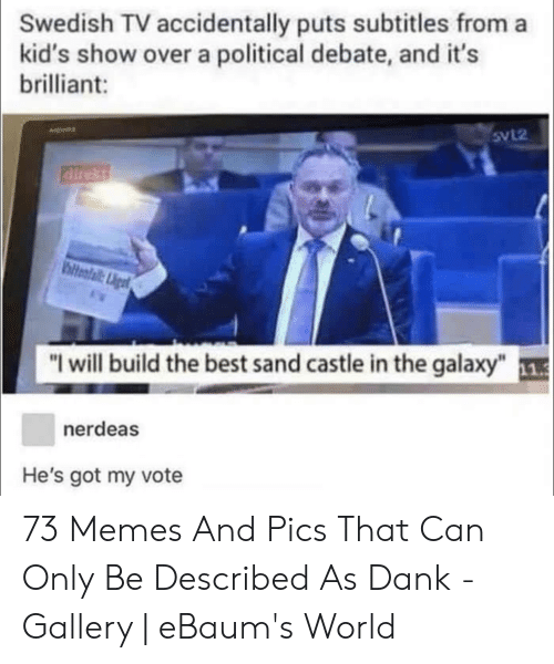 "Dank, Memes, and Best: Swedish TV accidentally puts subtitles from a  kid's show over a political debate, and it's  brilliant:  SvL2  airekt  biteafail: Ligt  ""I will build the best sand castle in the galaxy"" 1  nerdeas  He's got my vote 73 Memes And Pics That Can Only Be Described As Dank - Gallery 