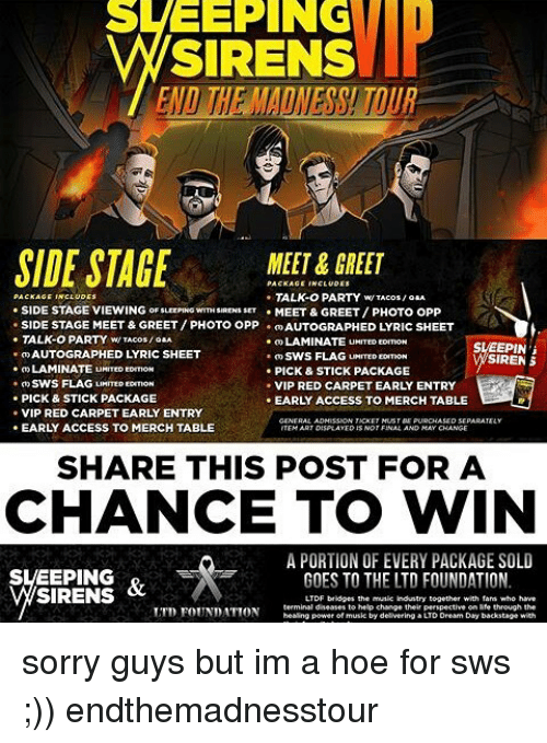 Sweeping sirens side stage meet greet talk o party wtacos side memes lyrics and sweeping sirens side stage meet greet talk o m4hsunfo