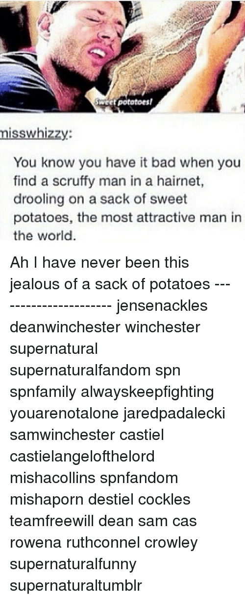 Bad, Jealous, and Memes: Sweet potatoes!  is  Zzy  You know you have it bad when you  find a scruffy man in a hairnet,  drooling on a sack of sweet  potatoes, the most attractive man in  the world Ah I have never been this jealous of a sack of potatoes ---------------------- jensenackles deanwinchester winchester supernatural supernaturalfandom spn spnfamily alwayskeepfighting youarenotalone jaredpadalecki samwinchester castiel castielangelofthelord mishacollins spnfandom mishaporn destiel cockles teamfreewill dean sam cas rowena ruthconnel crowley supernaturalfunny supernaturaltumblr