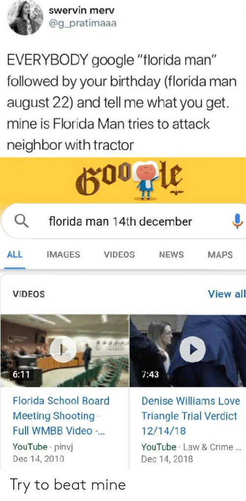 Swervin Merv EVERYBODY Google Florida Man Followed by Your