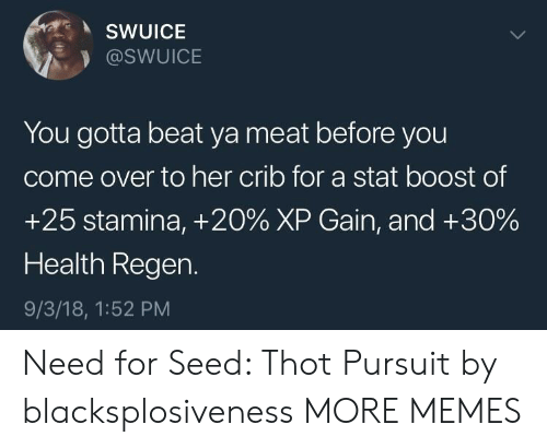 Come Over, Dank, and Memes: SWUICE  @SWUICE  You gotta beat ya meat before you  come over to her crib for a stat boost of  +25 stamina, +20% XP Gain, and +30%  Health Regen.  9/3/18, 1:52 PM Need for Seed: Thot Pursuit by blacksplosiveness MORE MEMES