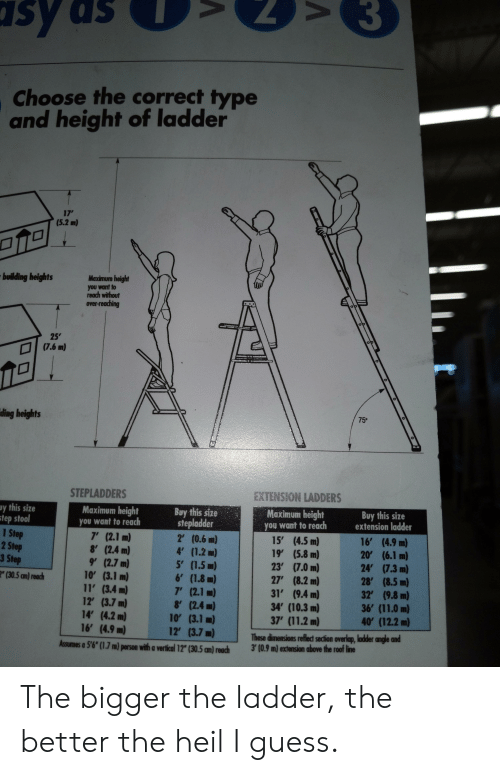 """Guess, Accidental Racism, and Step: sy as  Choose the correct type  and height of ladder  17'  (5.2 m)  Maximum height  building heights  you want to  reach without  over-reaching  25  (7.6 m)  op  ding heights  75°  EXTENSION LADDERS  STEPLADDERS  Buy this size  extension ladder  Bay this size  stepladder  2 (0.6 m)  4' (1.2 m)  5 (1.5 m)  6' (1.8 m)  7' (2.1 m)  8' (2.4 m)  10' (3.1 m)  12' (3.7 m)  Maximum height  Maximum height  y this size  step stool  1 Step  2 Step  3 Step  you want to reach  you want to reach  16' (4.9 m)  20' (6.1 m)  24' (7.3 m)  28' (8.5 m)  32' (9.8 m)  36' (11.0 m)  40 (12.2 m)  15' (4.5 m)  19' (5.8 m)  23' (7.0 m)  27' (8.2 m)  31' (9.4 m)  34' (10.3 m)  37' (11.2 m)  7' (2.1 m)  8' (2.4 m)  9' (2.7 m)  10 (3.1 m)  11' (3.4 m)  12' (3.7 m)  14' (4.2 m)  16' (4.9 m)  2"""" (30.5 an) reach  These dinensions reflect section overlap, ladder angle and  3'(0.9 m) extension above the roof line  Assumes a 5'6"""" (1.7 m) person with a vertical 12"""" (30.5 an) reach The bigger the ladder, the better the heil I guess."""
