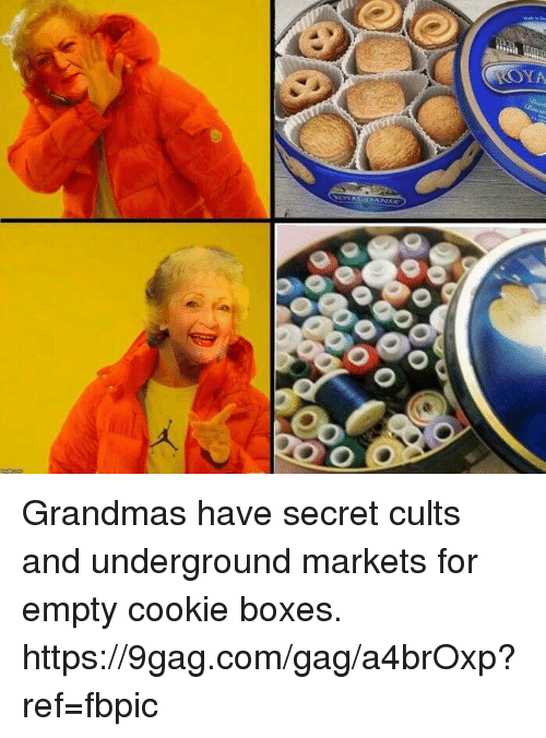 9gag, Dank, and 🤖: SYA  AL-J 3 ANSK  0 0  O Grandmas have secret cults and underground markets for empty cookie boxes. https://9gag.com/gag/a4brOxp?ref=fbpic