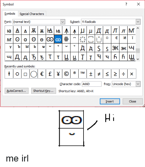 Symbol Symbols Special Characters Font Normal Text Subset Yi