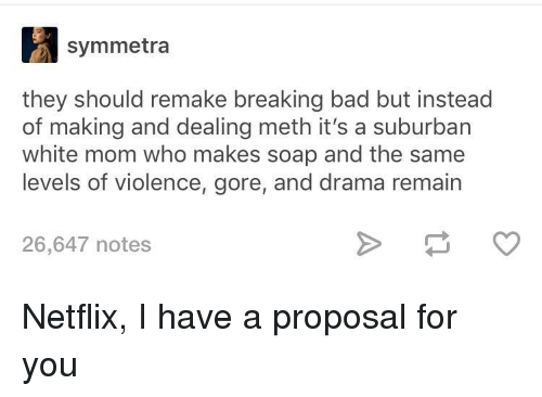 Bad, Breaking Bad, and Netflix: symmetra  they should remake breaking bad but instead  of making and dealing meth it's a suburban  white mom who makes soap and the same  levels of violence, gore, and drama remain  26,647 notes Netflix, I have a proposal for you