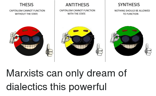 synthesis antithesis capitalism cannot function with the state
