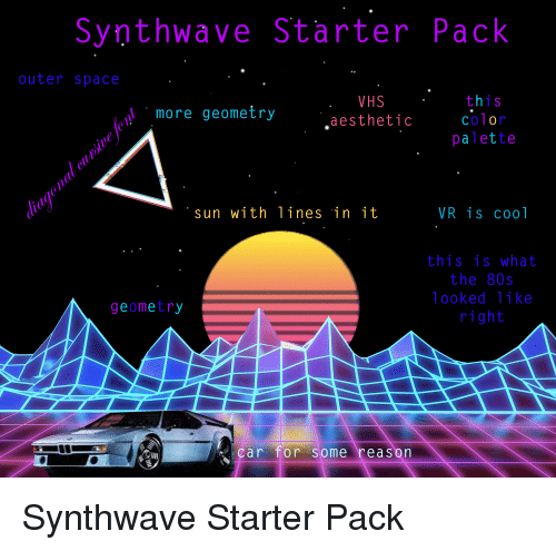 Synthwave Starter Pack Outer Space Vhs Aesthetic 1 S More Geometry Color Palette Sun With Lines In It Vr Is Cool This Is What The 80s Looked Like Right Geometry Car For