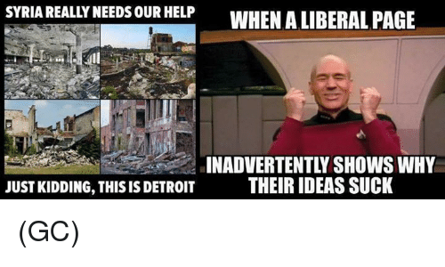 Detroit, Memes, and Help: SYRIA REALLY NEEDS OUR HELP  WHEN A LIBERAL PAGE  INADVERTENTLY SHOWS WHY  JUST KIDDING, THIS IS DETROIT  THEIR IDEAS SUCK (GC)