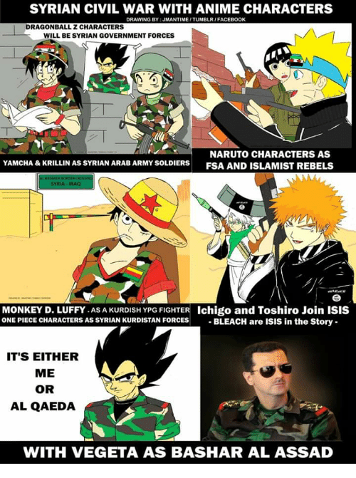 Anime, Dragonball, and Facebook: SYRIAN CIVIL WAR WITH ANIME CHARACTERS  DRAWING BY: JMANTIME/TUMBLR/FACEBOOK  DRAGONBALL Z CHARACTERS  WILL BE SYRIAN GOVERNMENT FORCES  NARUTO CHARACTERS AS  YAMCHA & KRILLIN AS SYRIAN ARAB ARMY SOLDIERS ESA AND ISL AMIST RERELS  FSA AND ISLAMIST REBELS  SYRIA  MONKEY D. LUFFY.AS A KURDISH YPG FIGHTER Ichigo and Toshiro Join ISIS  ONE PIECE CHARACTERS AS SYRIAN KURDISTAN FORCES BLEACH are ISIS in the Story  IT'S EITHER  ME  OR  AL QAEDA  f  *  WITH VEGETA AS BASHAR AL ASSAD