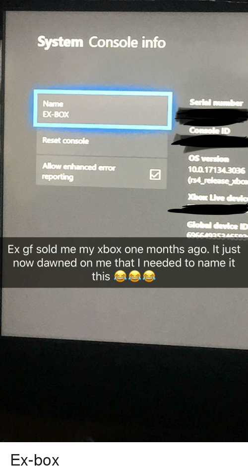 Anaconda Funny And Xbox One System Console Info Name Ex Box Id