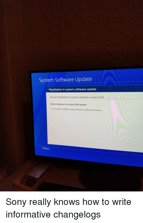 System Software Update PlayStation 4 System Software Update