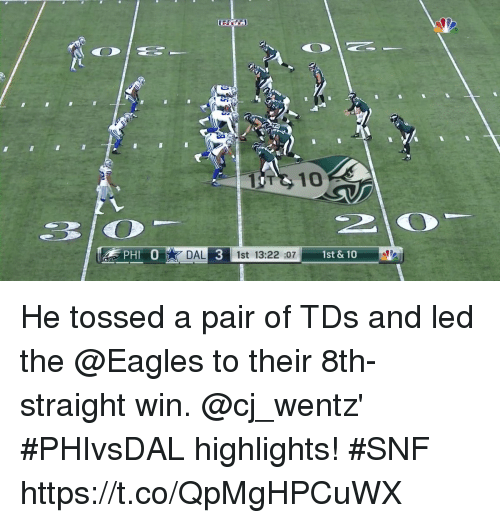 Philadelphia Eagles, Memes, and 🤖: T 10  3 0  DAL  3  1st 13:22 :07 1st & 10 He tossed a pair of TDs and led the @Eagles to their 8th-straight win.  @cj_wentz' #PHIvsDAL highlights! #SNF https://t.co/QpMgHPCuWX