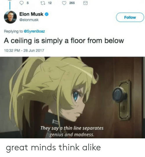 Genius, Dank Memes, and Elon Musk: t 12  265  Elon Musk  Follow  @elonmusk  Replying to @Syren Boaz  A ceiling is simply a floor from below  10:32 PM-28 Jun 2017  They say a thin line separates  genius and madness. great minds think alike