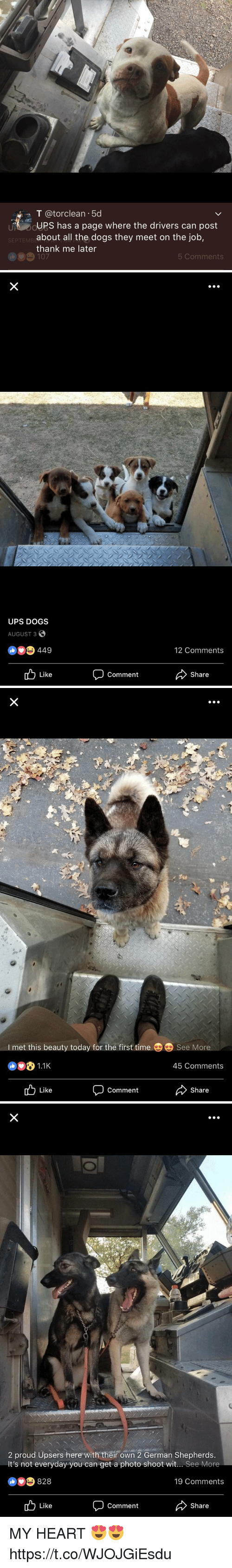 Dogs, Ups, and Heart: T atorclean .5d  UPS has a page where the drivers can post  about all the dogs they meet on the job,  thank me later  107  SEPTEMB  5 Comments   UPS DOGS  AUGUST 3S  449  12 Comments  Like  Comment  Share   I met this beauty today for the first time  See More  1.1K  45 Comments  Like  Comment  Share   2 proud Upsers here with their own 2 German Shepherds.  It's not everyday you can get a photo shoot wit... See More  828  19 Comments  Like  Comment  Share MY HEART 😍😍 https://t.co/WJOJGiEsdu