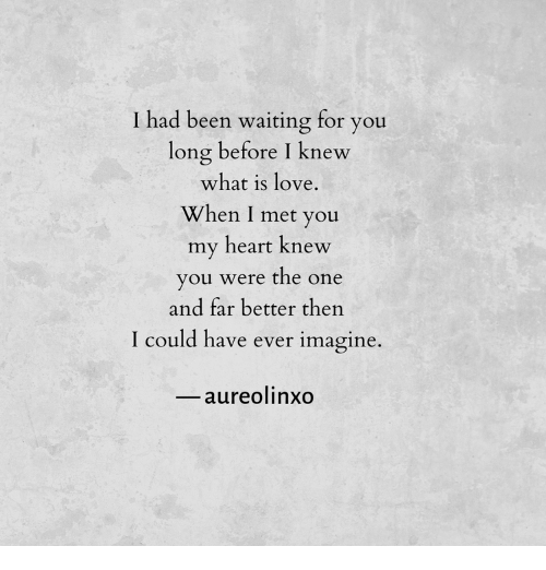 Love, Heart, and What Is: T had been waiting for you  long before I knew  what is love  When I met you  my heart knew  you were the one  and far better then  could have ever imagine.  aureolinxo