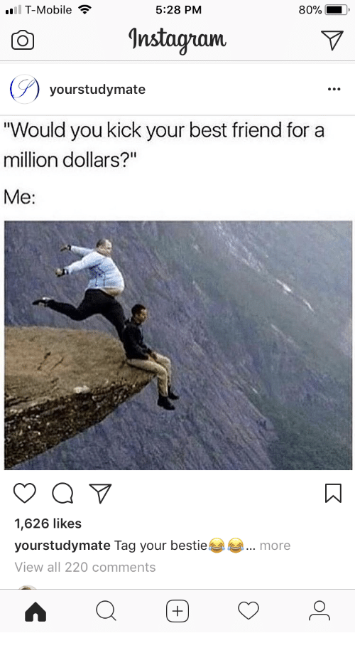 """Best Friend, T-Mobile, and Best: T-Mobile  5:28 PM  80%  Anstagnam  yourstudymate  """"Would you kick your best friend for a  million dollars?""""  Me:  1,626 likes  yourstudymate Tag your bestie  View all 220 comments  more"""