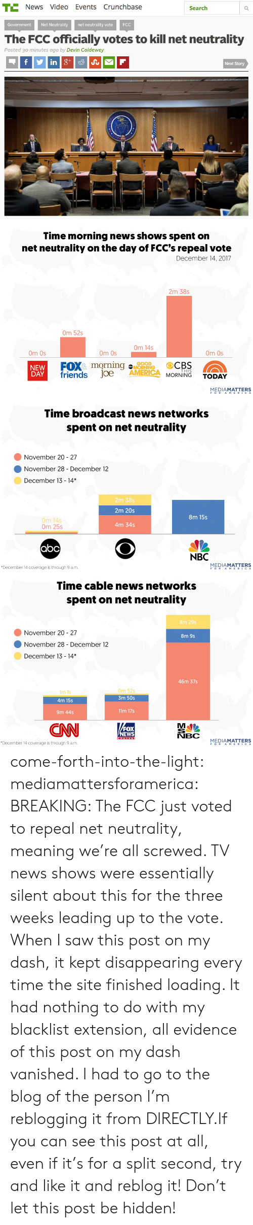 Abc, America, and Friends: T News Video Events Crunchbase  Search  Government Net Neutrality net neutrality vote FCC  The FCC officially votes to kill net neutrality  Posted 3o minutes ago by Devin Coldewey  Next Story   Time morning news shows spent on  net neutrality on the day of FCC's repeal vote  December 14, 2017  2m 38s  Om 52s  Om 14s  Om Os  Om Os  Om Os  FOXmorning  friends Joe  ARO  GOOD  NEW  DAY  AMERICA MORNING TODAY  THIS  MEDIAMATTERS   Time broadcast news networks  spent on net neutrality  November 20- 27  November 28 - December 12  December 13-14*  2m 38s  2m 20s  4m 34s  8m 15s  0m 14s  0m 25s  abc  NBC  December 14 coverage is through 9 a.m.  MEDIAMATTERS  FOR AMER'СА   Time cable news networks  spent on net neutrality  8m 29s  November 20- 27  8m 9s  November8  28 - December 12  December 13-14*  46m 37s  m 1s  4m 15s  0m 52s  3m 50s  9m 44s  11m 17s  FOX  NEWS  NBC  December 14 coverage is through 9 a.m.  MEDIAMATTERS  FORAMERIC A come-forth-into-the-light: mediamattersforamerica: BREAKING: The FCC just voted to repeal net neutrality, meaning we're all screwed. TV news shows were essentially silent about this for the three weeks leading up to the vote. When I saw this post on my dash, it kept disappearing every time the site finished loading. It had nothing to do with my blacklist extension, all evidence of this post on my dash vanished. I had to go to the blog of the person I'm reblogging it from DIRECTLY.If you can see this post at all, even if it's for a split second, try and like it and reblog it! Don't let this post be hidden!