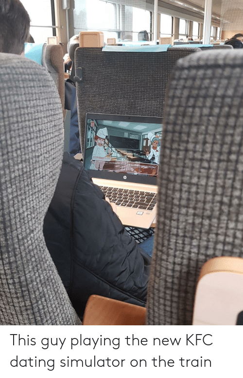 Cute, Dating, and Kfc: T  Pay cute thingt  and Poot This guy playing the new KFC dating simulator on the train