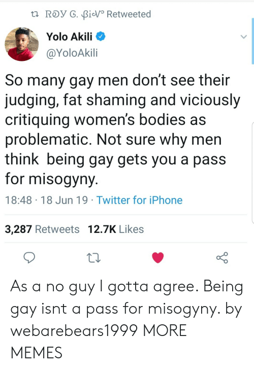 Bodies , Dank, and Iphone: t ROy G. BiV Retweeted  Yolo Akili  @YoloAkili  So many gay men don't see their  judging, fat shaming and viciously  critiquing women's bodies as  problematic. Not sure why men  think being gay gets you a pass  for misogyny  18:48 18 Jun 19 Twitter for iPhone  3,287 Retweets 12.7K Likes As a no guy I gotta agree. Being gay isnt a pass for misogyny. by webarebears1999 MORE MEMES