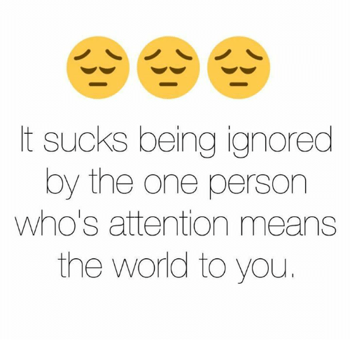 Funny, Ignorant, and Mean: t sucks being ignored  by the one person  Who's attention means  the world to you