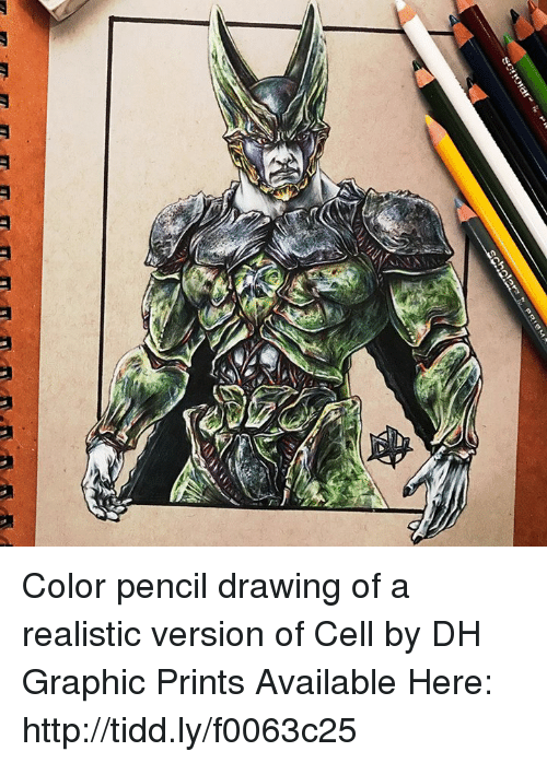 Funny, Tits, and Tiddly: T. T. T T, ITE, TIT-m-m-m,-m Color pencil drawing of a realistic version of Cell by DH Graphic Prints Available Here: http://tidd.ly/f0063c25