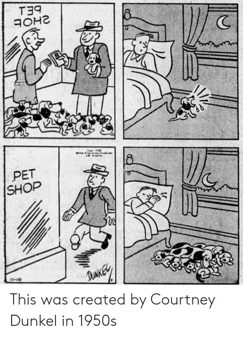 Shop, Pet, and This: T39  (C  PET  SHOP  2  I-10 This was created by Courtney Dunkel in 1950s