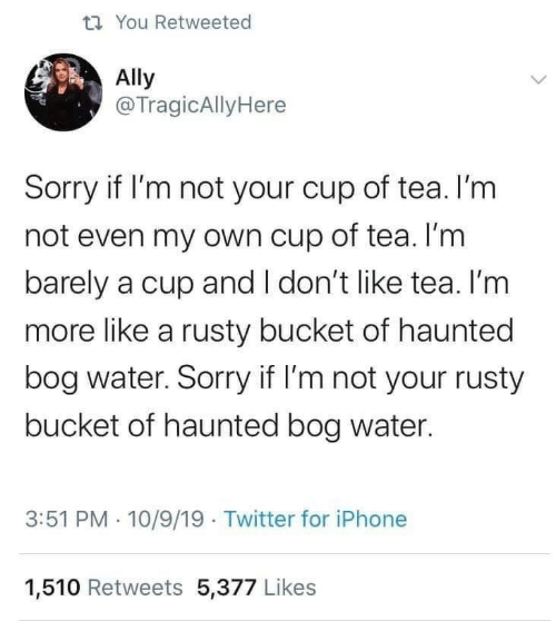 Iphone, Sorry, and Twitter: t7 You Retweeted  Ally  @TragicAllyHere  Sorry if I'm not your cup of tea. I'm  not even my own cup of tea. I'm  barely a cup and I don't like tea. I'm  more like a rusty bucket of haunted  bog water. Sorry if I'm not your rusty  bucket of haunted bog water.  3:51 PM · 10/9/19 Twitter for iPhone  1,510 Retweets 5,377 Likes
