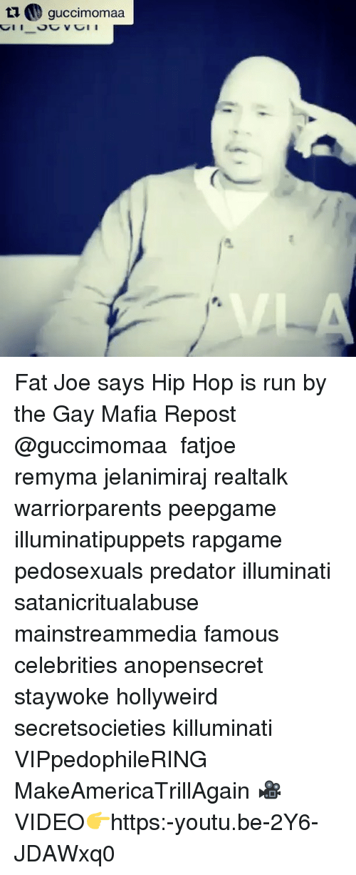 Fat Joe, Illuminati, and Memes: ta guccimomaa Fat Joe says Hip Hop is run by the Gay Mafia Repost @guccimomaa ・・・ fatjoe remyma jelanimiraj realtalk warriorparents peepgame illuminatipuppets rapgame pedosexuals predator illuminati satanicritualabuse mainstreammedia famous celebrities anopensecret staywoke hollyweird secretsocieties killuminati VIPpedophileRING MakeAmericaTrillAgain 🎥VIDEO👉https:-youtu.be-2Y6-JDAWxq0
