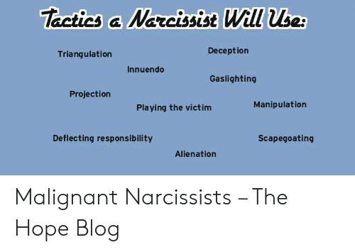 Tactics &Narcissise Will Use Deception Triangulation