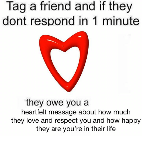 Life, Love, and Respect: Tag a friend and if they  dont respond in 1 minute  they owe you a  heartfelt message about how much  they love and respect you and how happy  they are you're in their life