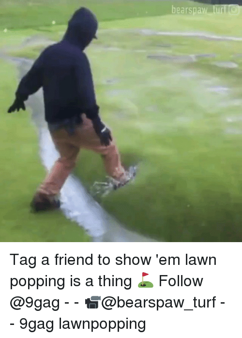 9gag, Memes, and 🤖: Tag a friend to show 'em lawn popping is a thing ⛳️ Follow @9gag - - 📹@bearspaw_turf - - 9gag lawnpopping