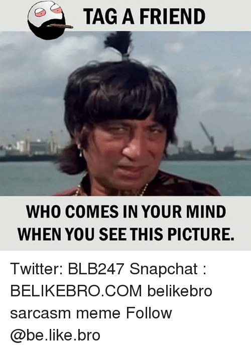 Be Like, Meme, and Memes: TAG A FRIEND  WHO COMES IN YOUR MIND  WHEN YOU SEE THIS PICTURE. Twitter: BLB247 Snapchat : BELIKEBRO.COM belikebro sarcasm meme Follow @be.like.bro