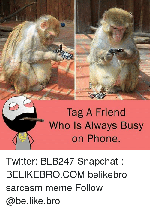 Be Like, Meme, and Memes: Tag A Friend  Who Is Always Busy  on Phone. Twitter: BLB247 Snapchat : BELIKEBRO.COM belikebro sarcasm meme Follow @be.like.bro