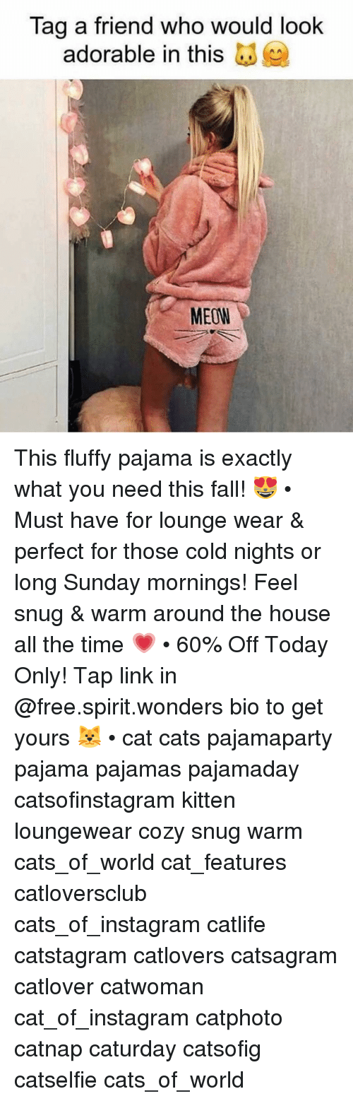 Cats, Caturday, and Fall: Tag a friend who would look  adorable in this  MEOW This fluffy pajama is exactly what you need this fall! 😻 • Must have for lounge wear & perfect for those cold nights or long Sunday mornings! Feel snug & warm around the house all the time 💗 • 60% Off Today Only! Tap link in @free.spirit.wonders bio to get yours 🐱 • cat cats pajamaparty pajama pajamas pajamaday catsofinstagram kitten loungewear cozy snug warm cats_of_world cat_features catloversclub cats_of_instagram catlife catstagram catlovers catsagram catlover catwoman cat_of_instagram catphoto catnap caturday catsofig catselfie cats_of_world