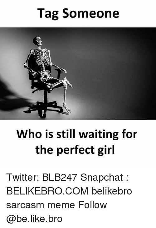 Be Like, Meme, and Memes: Tag Someone  Who is still waiting for  the perfect girl Twitter: BLB247 Snapchat : BELIKEBRO.COM belikebro sarcasm meme Follow @be.like.bro