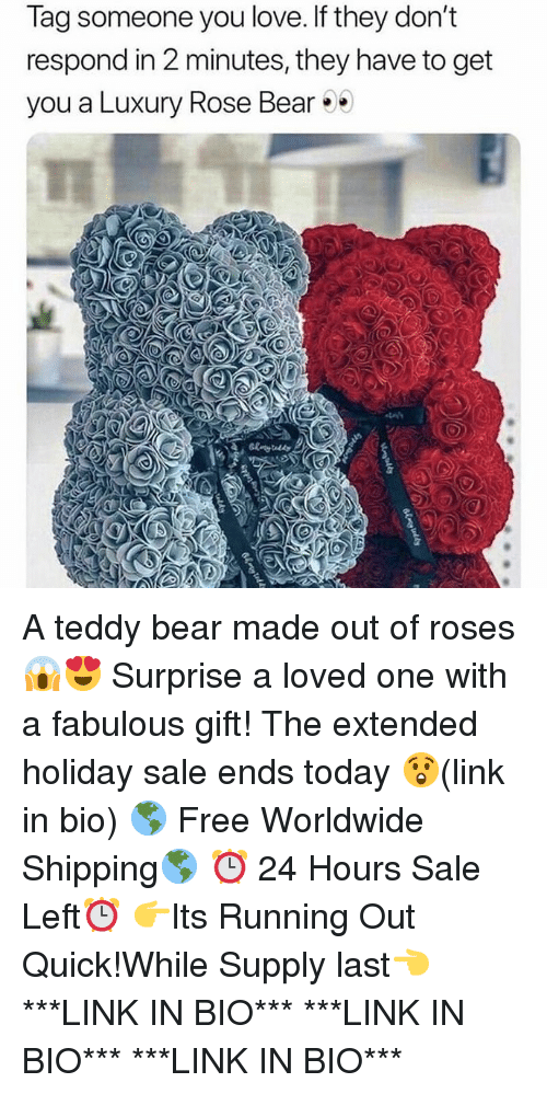 Love, Memes, and Bear: Tag someone you love. If they don't  respond in 2 minutes, they have to get  you a Luxury Rose Bear A teddy bear made out of roses😱😍 Surprise a loved one with a fabulous gift! The extended holiday sale ends today 😲(link in bio) 🌎 Free Worldwide Shipping🌎 ⏰ 24 Hours Sale Left⏰ 👉Its Running Out Quick!While Supply last👈 ***LINK IN BIO*** ***LINK IN BIO*** ***LINK IN BIO***
