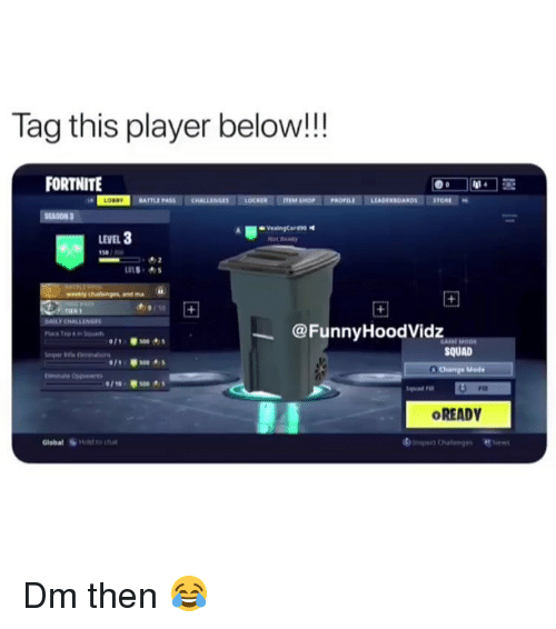 Anaconda, Memes, and Squad: Tag this player below!!  FORTNITE  BATTLE  LEVEL 3  50  @FunnyHoodVidz  011  s00  SQUAD  Mode  /10-100  Squad Fin  Fiat  OREADY  Global  HONİ to chat Dm then 😂