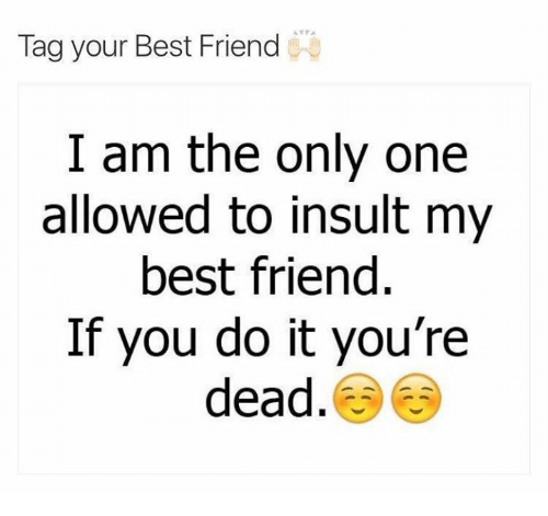 Tag Your Best Friend I Am The Only One Allowed To Insult My Best