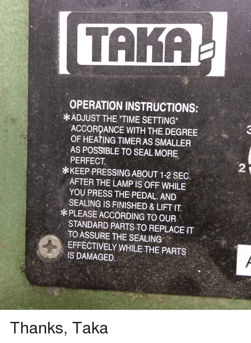 Taka Operation Instructions Adjust The Time Setting Accordance With