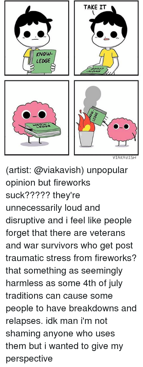 Memes, 4th of July, and Fireworks: TAKE IT  KNOW  LEDGE  VIAKAVISH (artist: @viakavish) unpopular opinion but fireworks suck????? they're unnecessarily loud and disruptive and i feel like people forget that there are veterans and war survivors who get post traumatic stress from fireworks? that something as seemingly harmless as some 4th of july traditions can cause some people to have breakdowns and relapses. idk man i'm not shaming anyone who uses them but i wanted to give my perspective